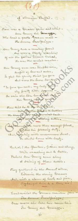 Eugene Field Manuscript Poem & First Edition