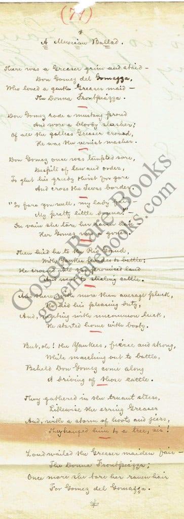 Eugene Field Manuscript Poem & First Edition