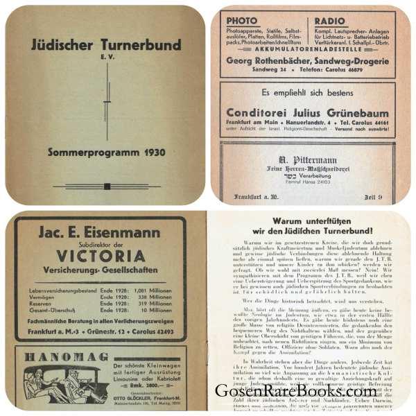 Jüdischer Turnerbund Sommerprogramm 1930