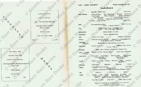 """R.M.S. """"Queen Elizabeth"""" - Nine Menus from 1950"""
