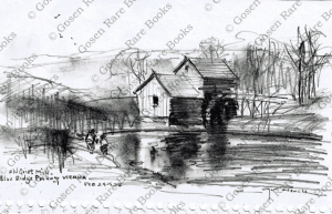 Old Grist Mill, Blue Ridge Parkway, Virginia, pencil sketch by Wayne Morrell