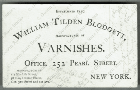 Varnish & Specialized Oils Formulary | New York 1855 -1866