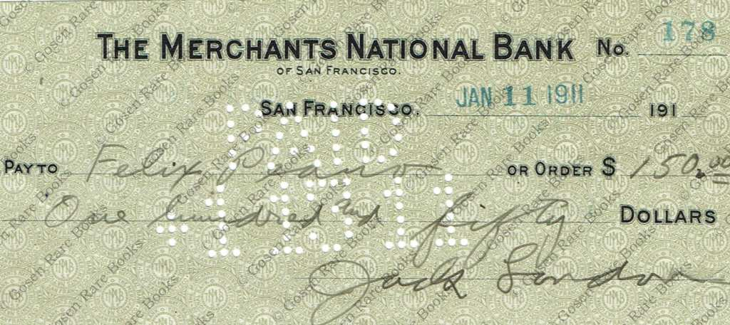Check Signed by Jack London and Felix Peano 1911