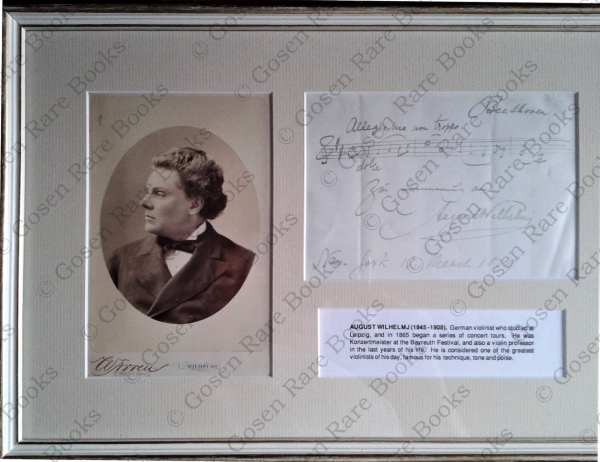 Wilhelmj   Musical Quote from Beethoven's Violin Concerto Signed, Inscribed 1879