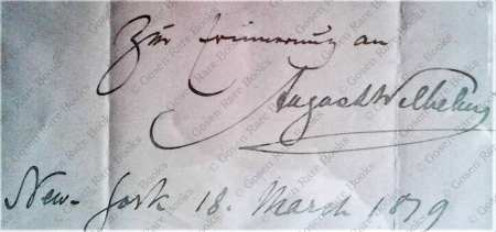 Wilhelmj | Musical Quote from Beethoven's Violin Concerto Signed, Inscribed 1879