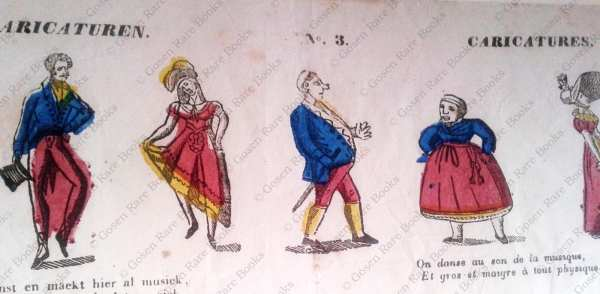 Verkouteren, Broadside | Caricaturen No. 3 Caricatures | Hand-Colored