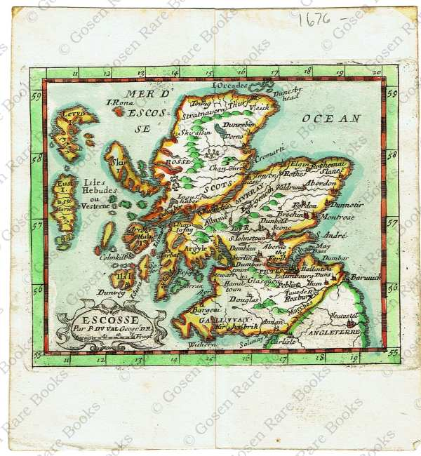 Seventeenth Century French Map of Scotland Hand-Colored