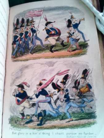 Double illustration on one page, showing and orderly advance of the army, and it's hast disorderly retreat.