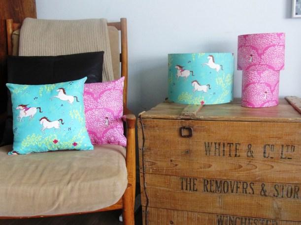 'Enchanted Wander' lampshades and cushions