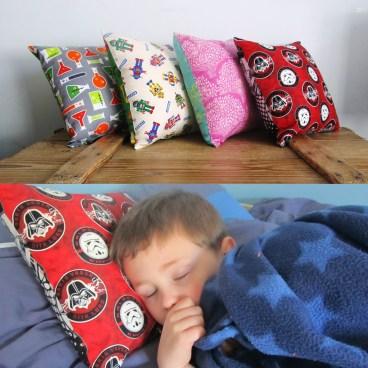 Kids cushions in fun fabric combinations
