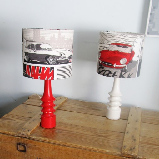 'Boy racer' 1980s vintage lamps with handmade lampshades
