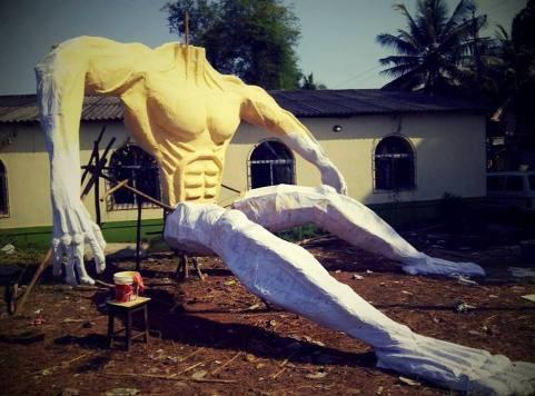 Narakusura demon effigy for Diwali in Goa