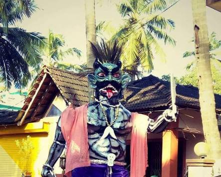 Narakusura demon effigy for Diwali in Goa