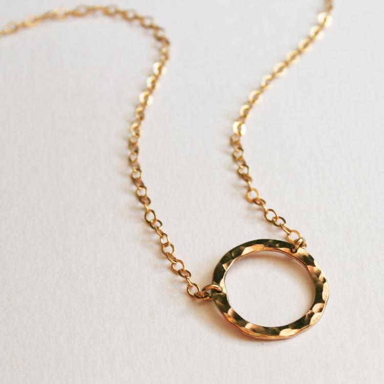 Small Karma Necklace Hammered Circle Pendant Gosia