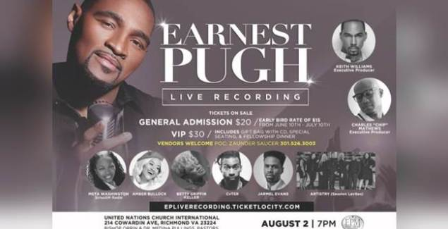 """Earnest Pugh Adds More Star-Power To """"OUTPOUR"""" Live Recording"""