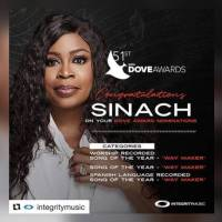 """Sinach's """"Way Maker"""" Gets Multiple Dove Awards Nomination"""