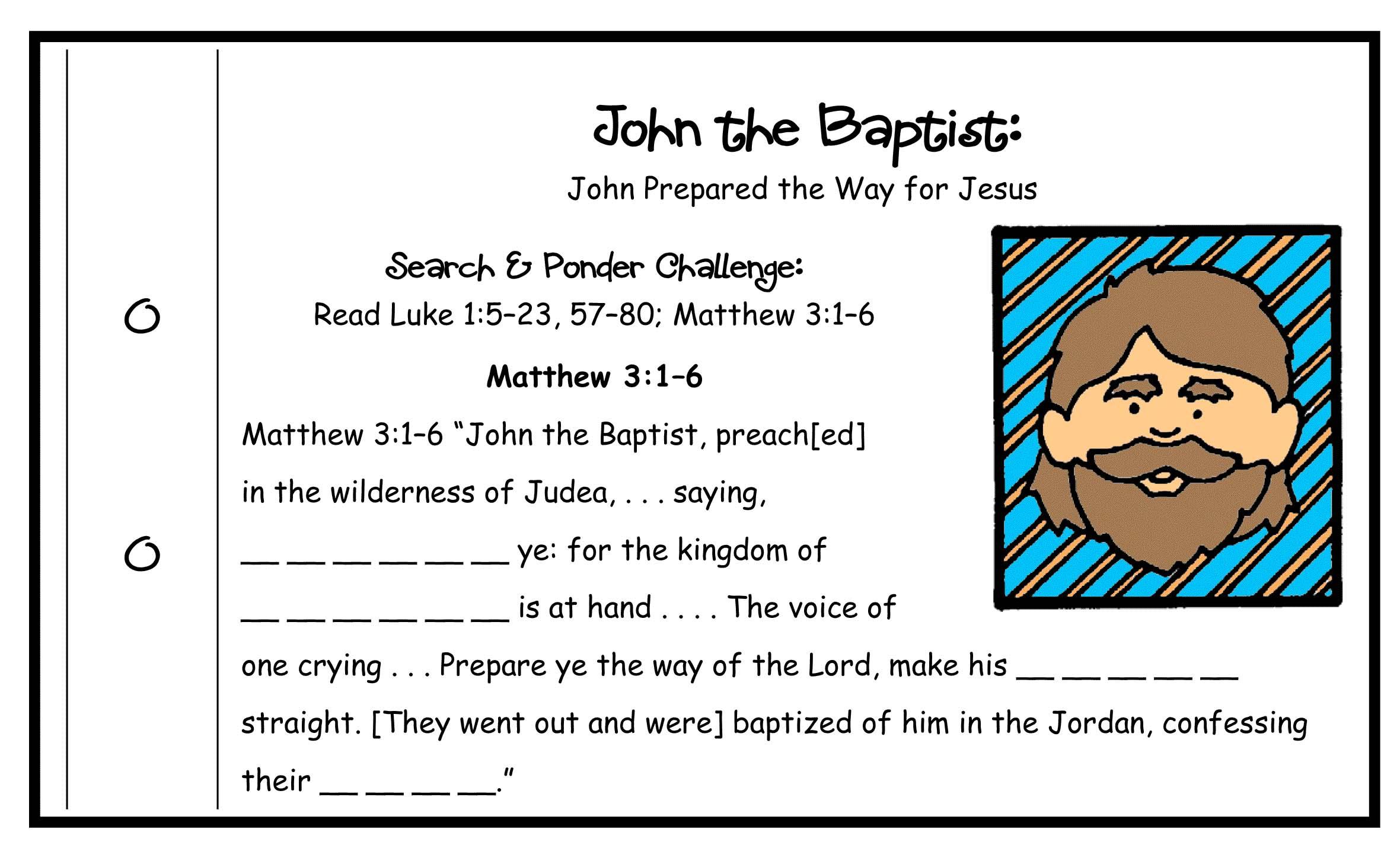 Jesus Amp John Activity John The Baptist Wordsearch