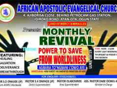 AFAPEC ATAN MONTHLY REVIVAL - THEME: POWER TO SAVE FROM WORLDLINESS