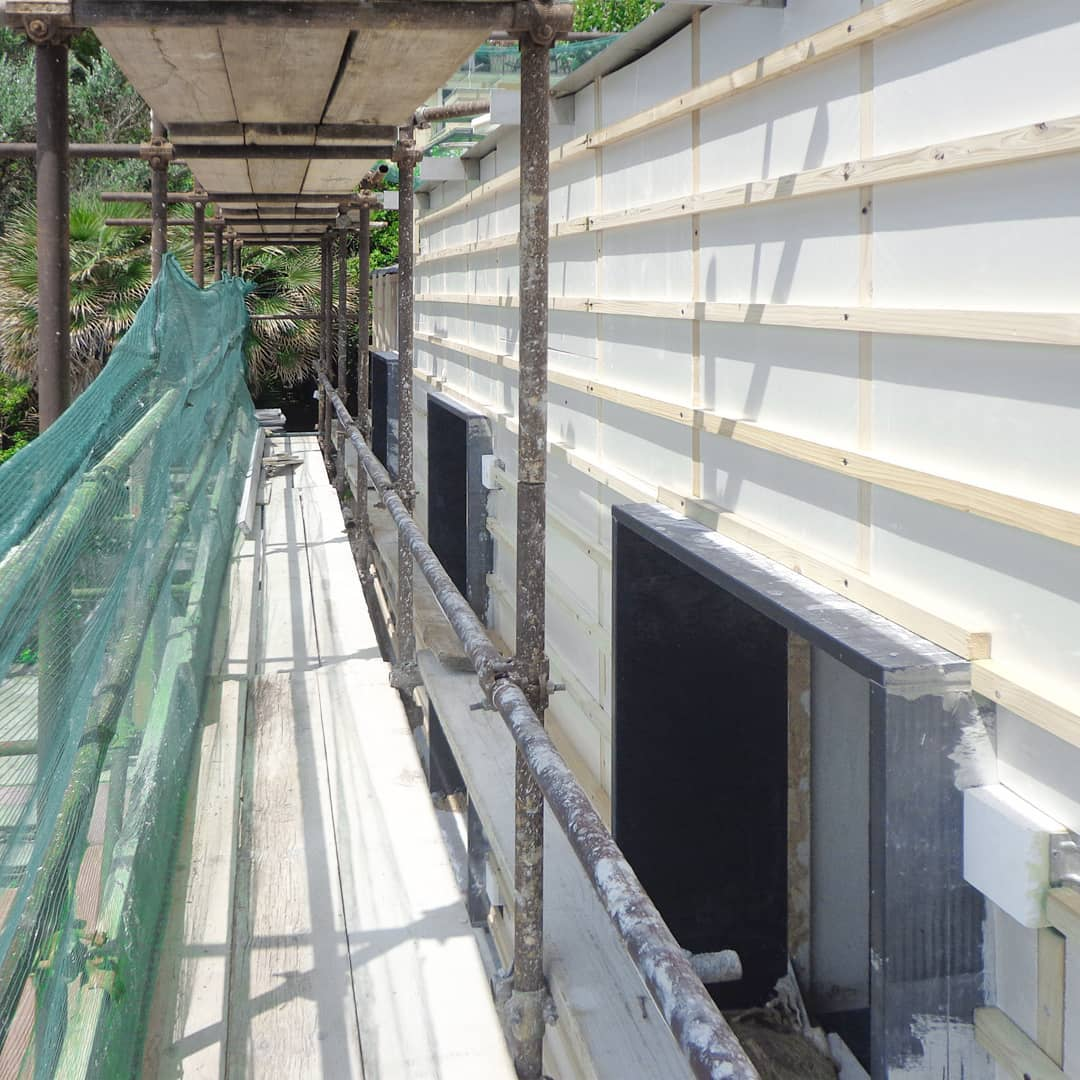 Facade insulation set up at Cliff House….