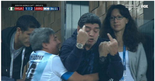marado 500x263 - Argentina Legend Maradona Gives Nigeria The Middle Finger After Their Loss Time Goal (Video)