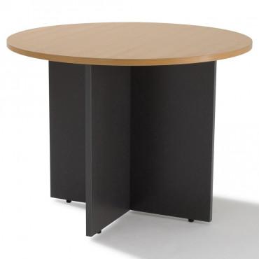 table de reunion ronde pietement bois 3 a 4 personnes