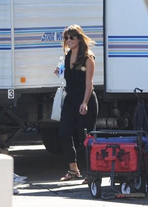 Lea Michele In Mini Skirt On The Set Of Glee In LA