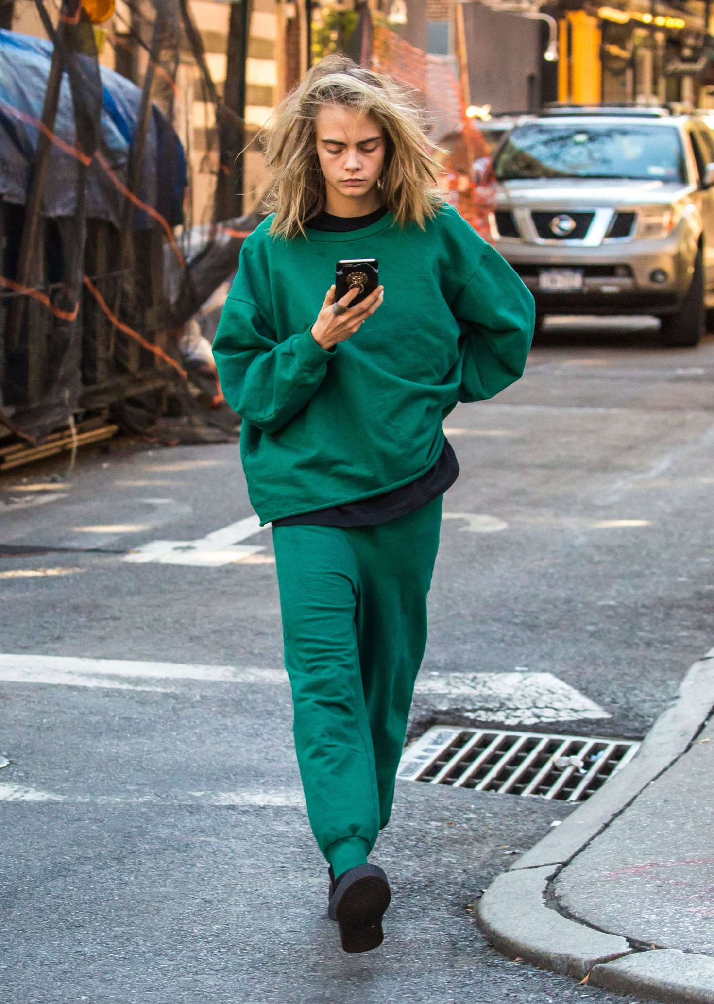 Cara Delevingne In Green Out In New York City GotCeleb