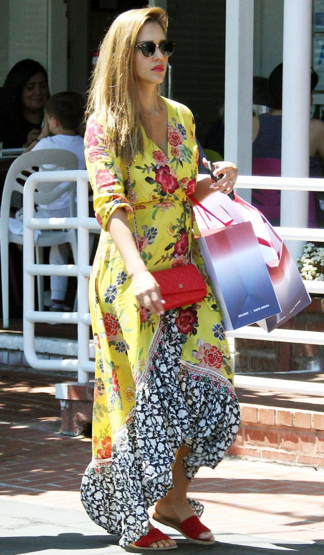 Jessica Alba in Long Summer Dress in West Hollywood