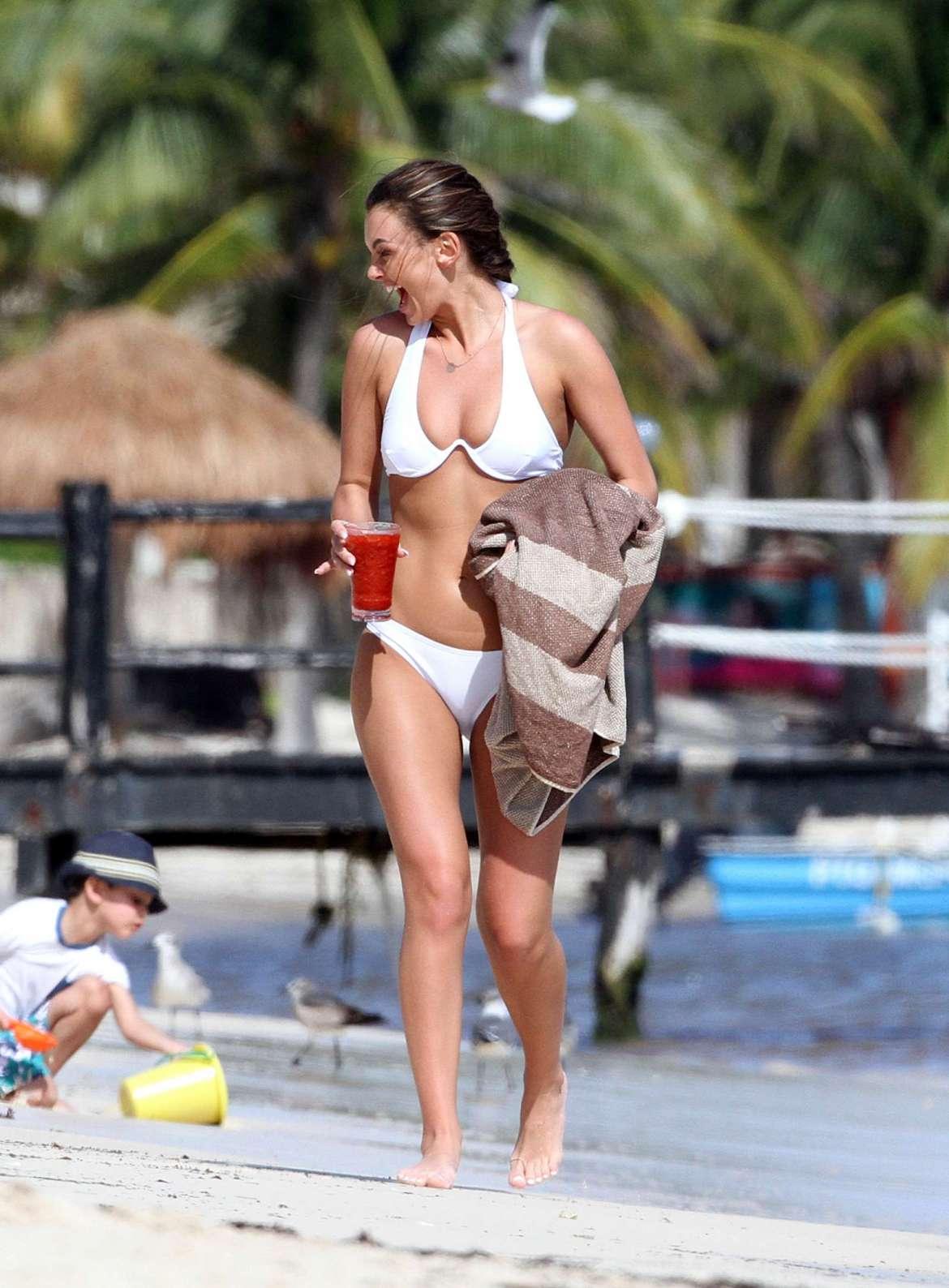 Kendall Rae Knight in White Bikini on the beach in Tulum