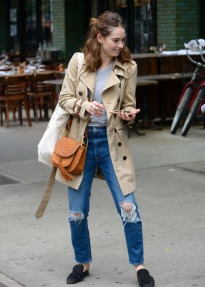 Lily James In Ripped Jeans Out In New York City