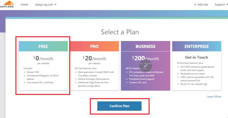 select cloudflare free plan