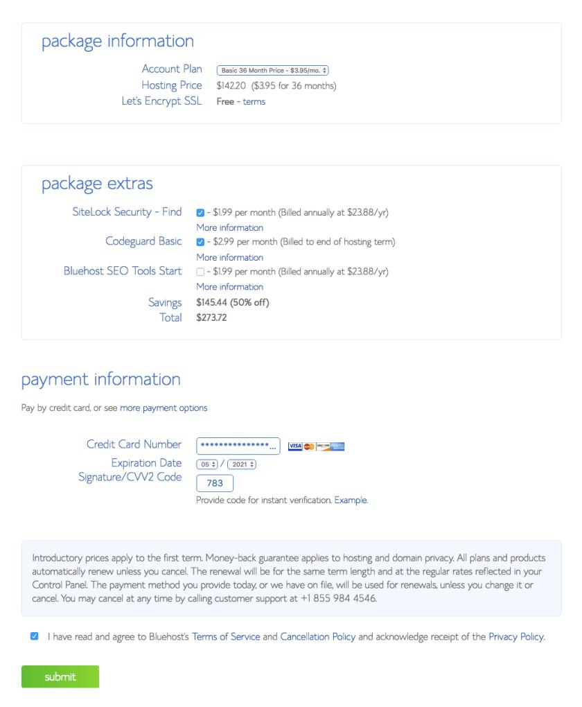 Blue hosting package signup