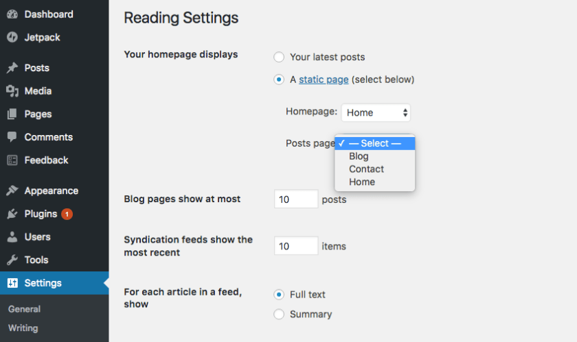 WP reading settings
