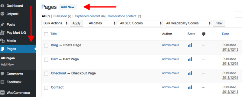 creating pages in WordPress