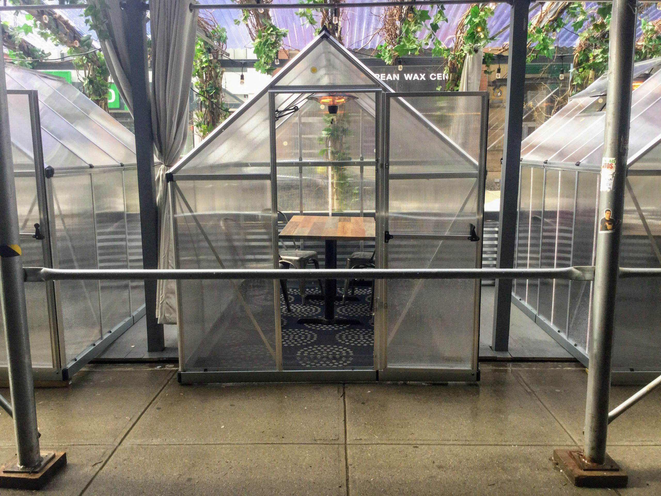 outdoor dining greenhouse
