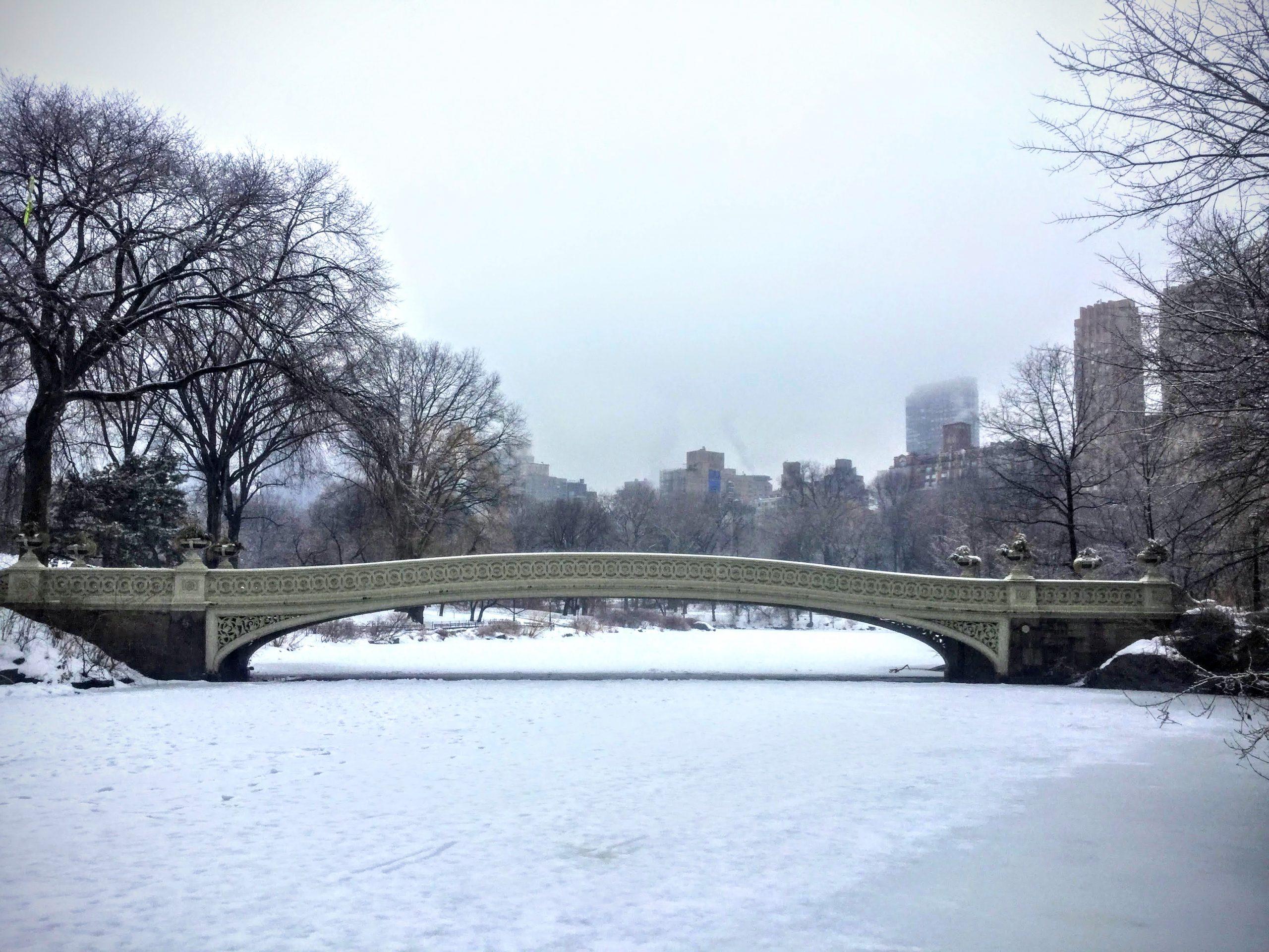 Bow Bridge in the snow