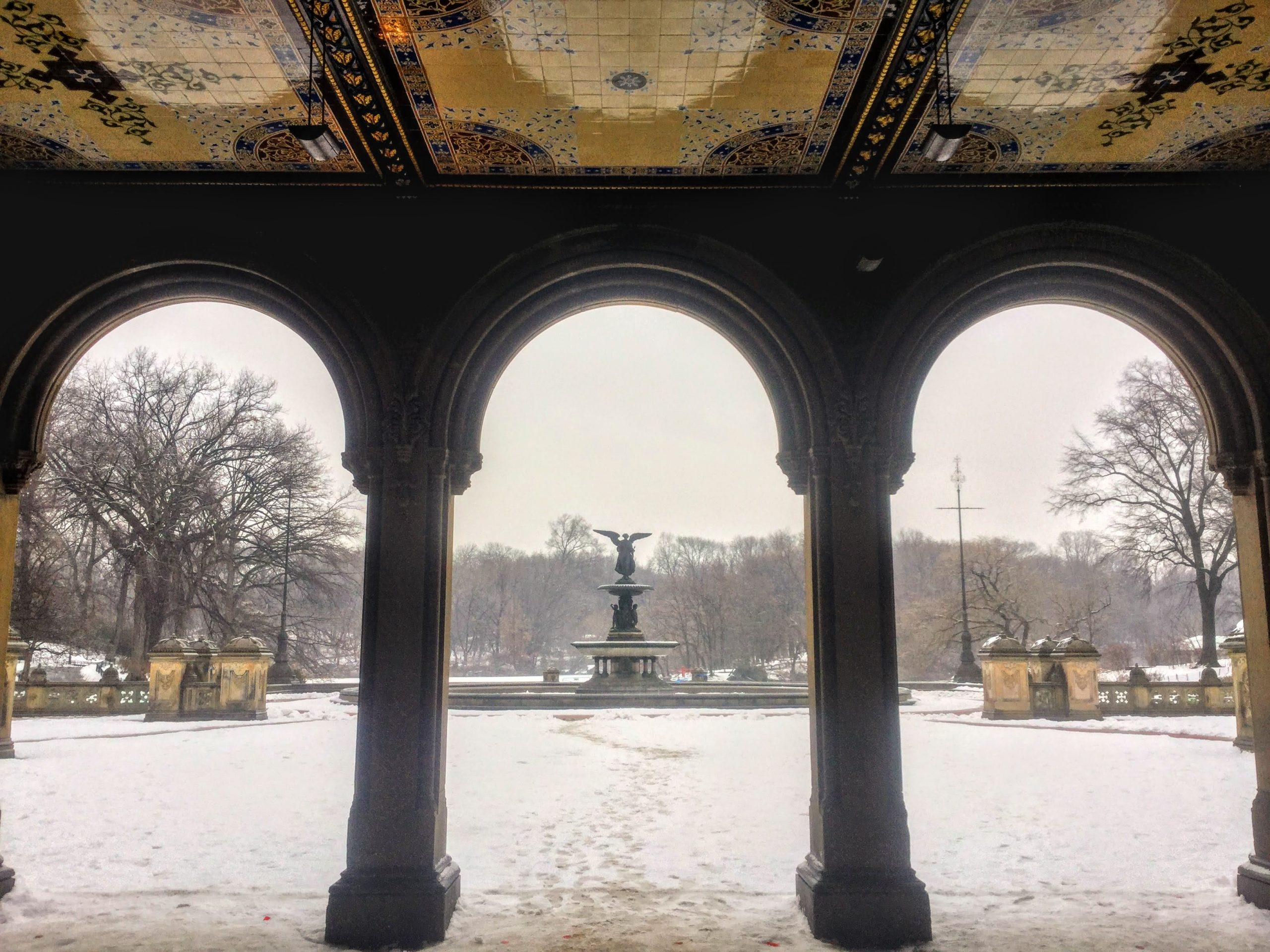 Bethesda Fountain and Terrace in the snow