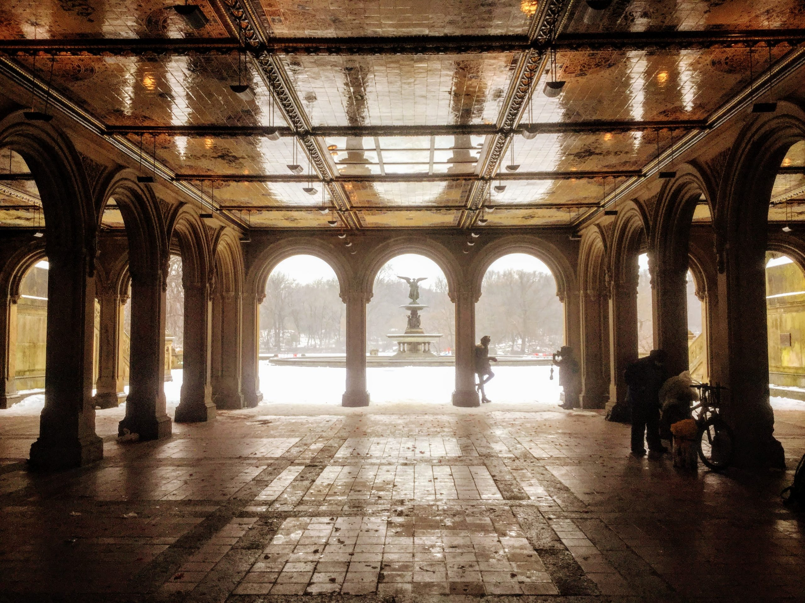 Bethesda Terrace and Fountain in the snow