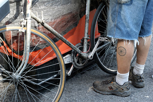 A Biker with a Bike Tattoo. You might love your bicycle-- but are you as