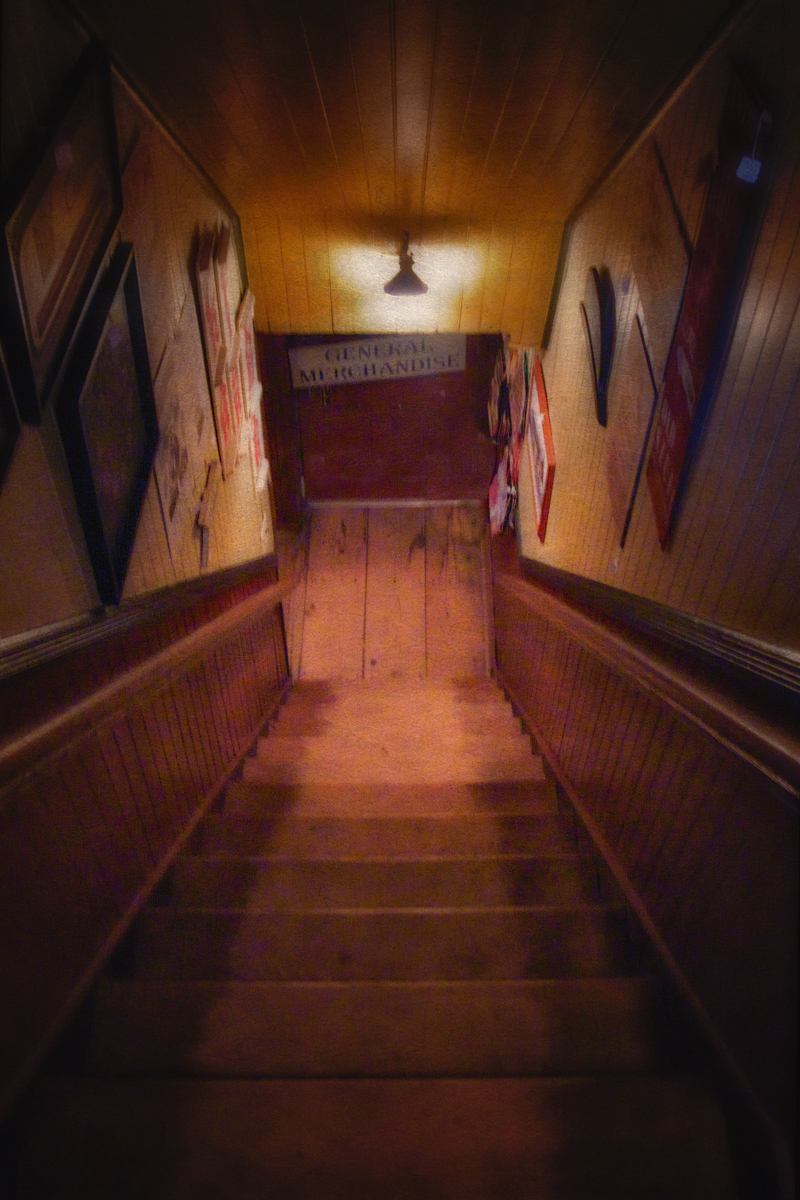 The steps the child haunts at St. James General Store