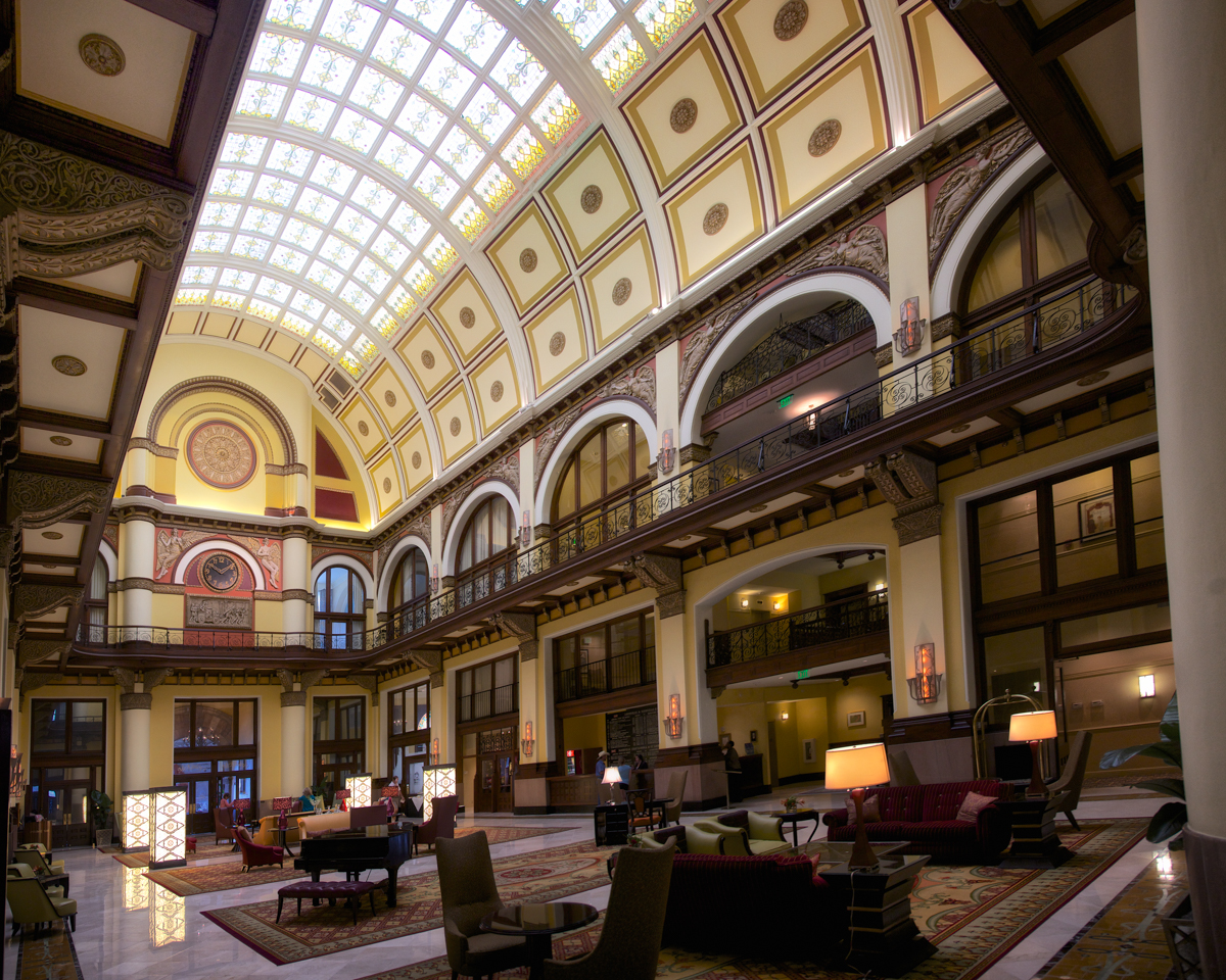 The lobby of the Union Station Nashville Hotel lobby