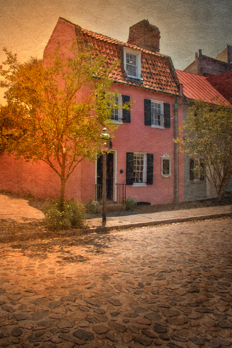 The Pink House, c. 1685, 17 Chalmers Street. Charleston, South Carolina