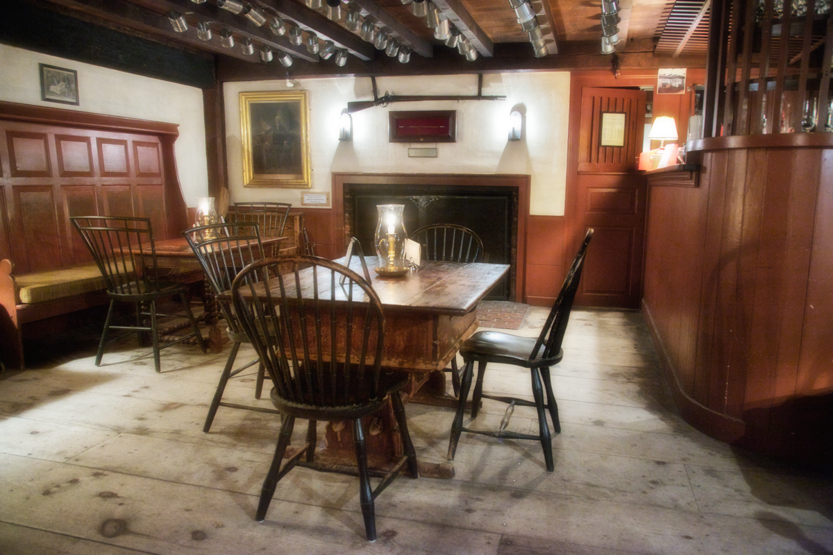 Barroom, Wayside Inn, c. 1716, Sudbury, Middlesex County, Massachusetts. This was the tavern where the poet Henry Wadsworth Longfellow holed up and wrote Tales From a Wayside Inn, which included the poem Paul Revere's Ride in 1860