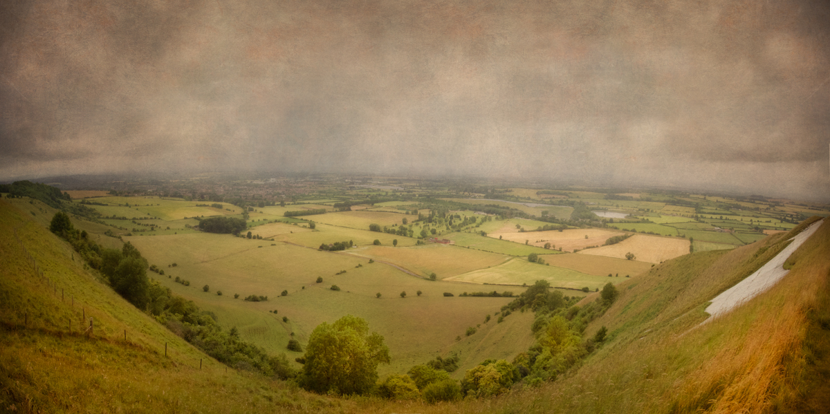The White Horse of Westbury viewed from the top of Salisbury Plain