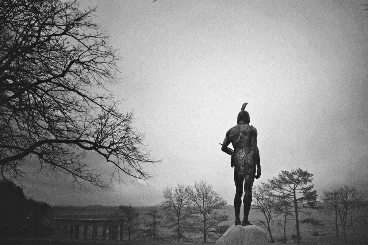 Statue of Massosoit overlooking haunted Plymouth harbor