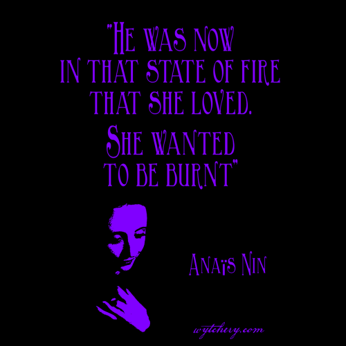 """""""He was now in that state of fire that she loved. She wanted to be burnt."""" Anais Nin"""