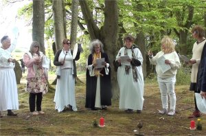 Druid ceremony at a sacred site in Scotland