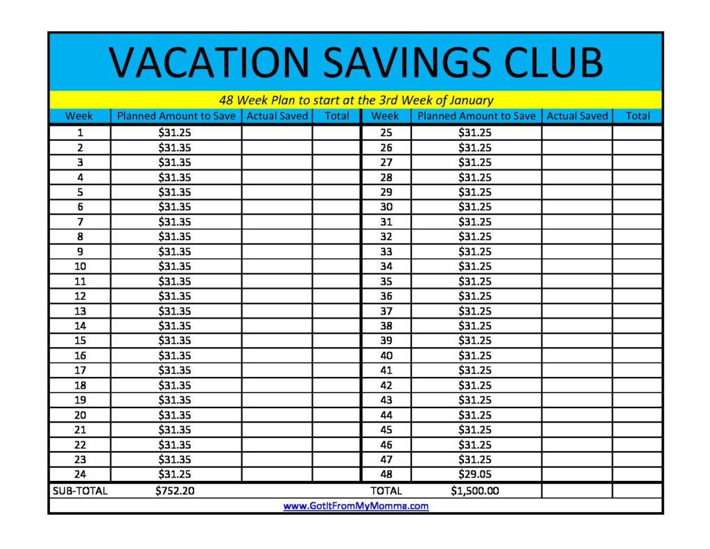 Vacation Saving Club Worksheet 48 Week Plan