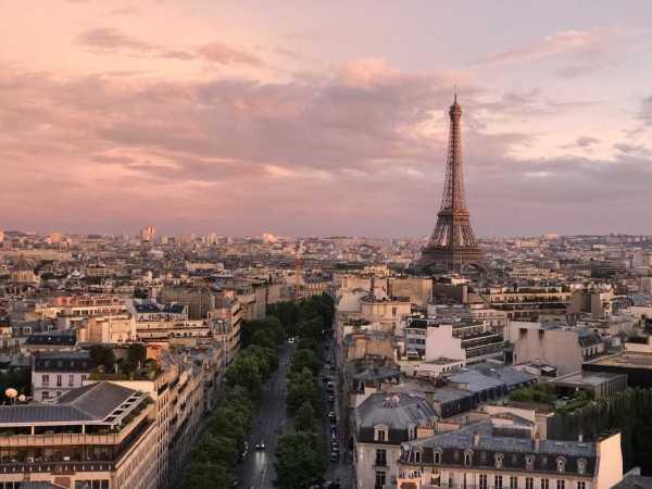 Arc view Eiffel Tower Sunset