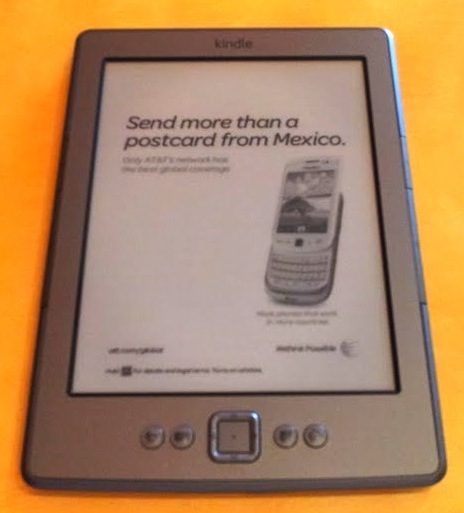 Amazon Kindle with ad showing while asleep